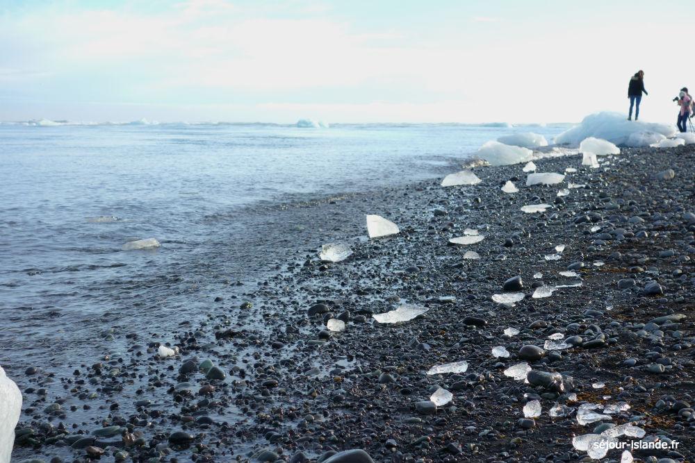 Jokulsarlon, lac de glace en Islnde et la plage de diamants
